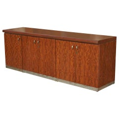 Vintage Brass and Burl Credenza Breakfront Cabinet