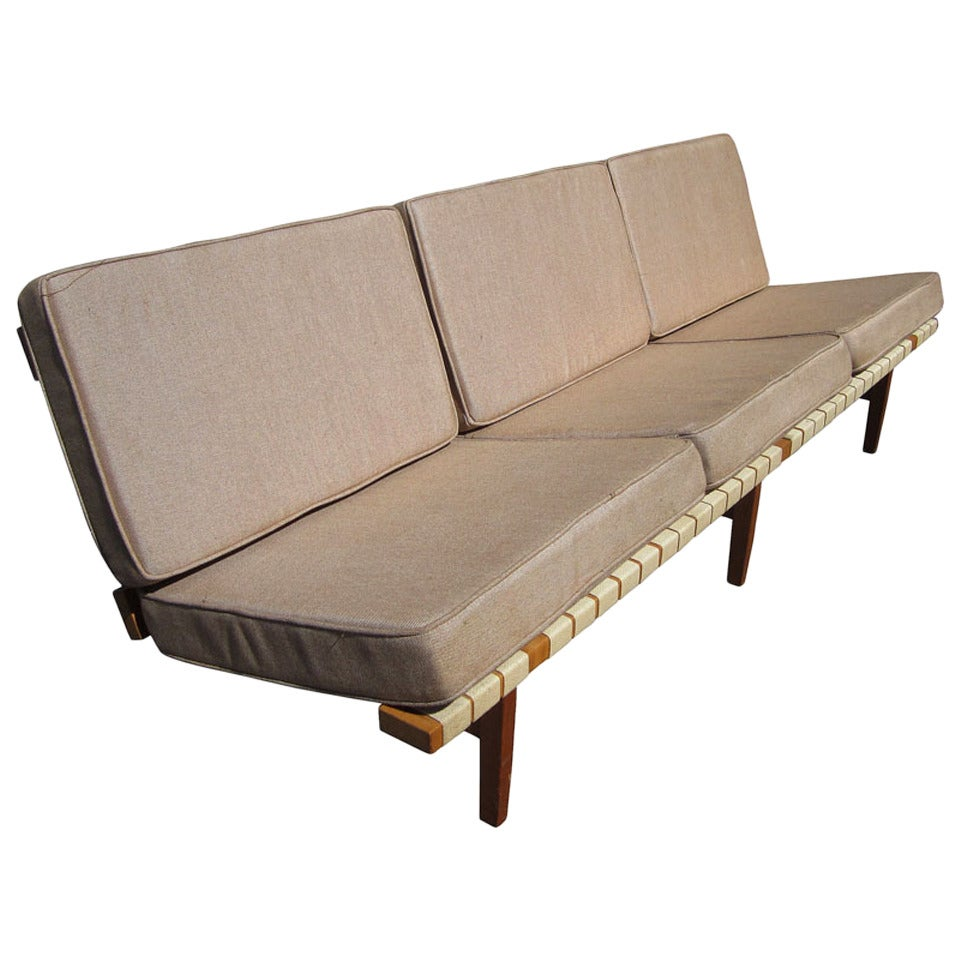 Vintage Maple Frame Knoll Sofa by Lewis Butler for Knoll