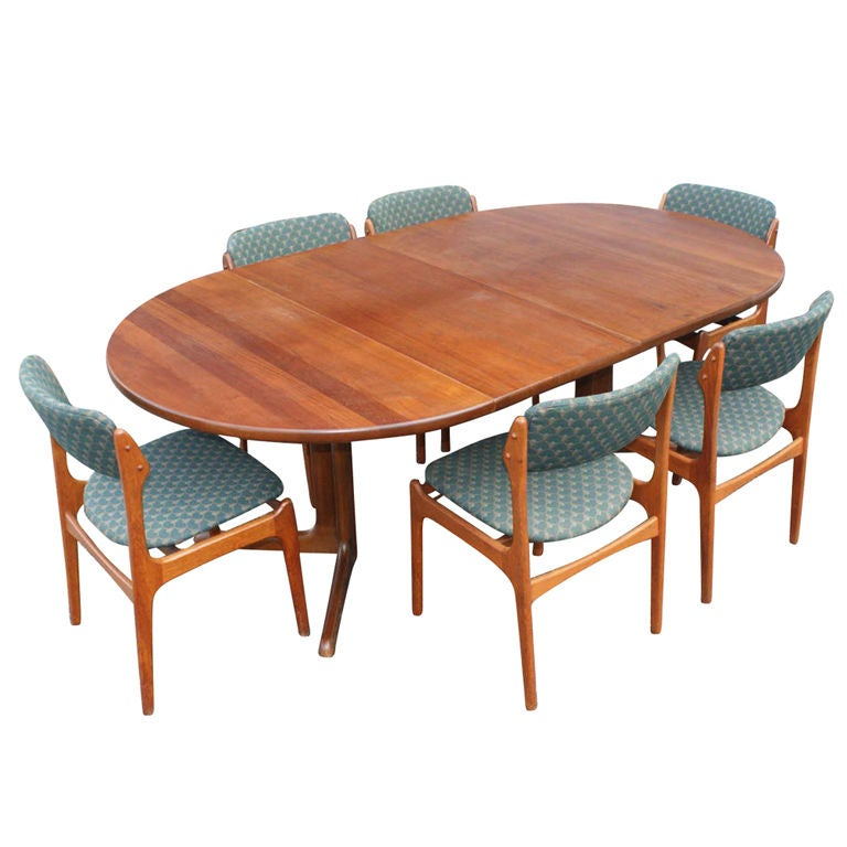 Danish niels o m ller dining table and six erik buch for Dining table and six chairs