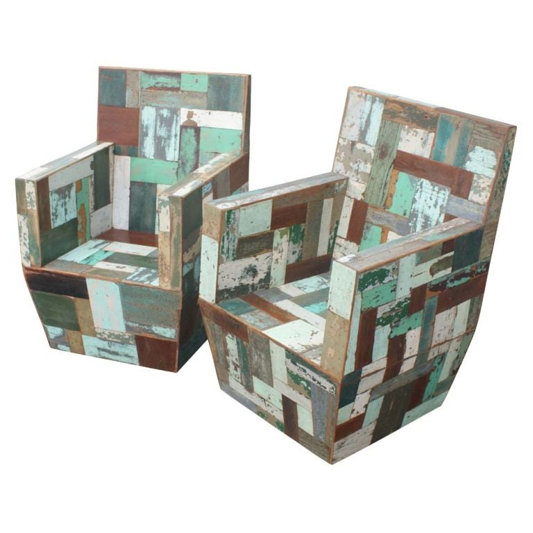 Pair of Patchwork Wooden Lounge Chairs 2