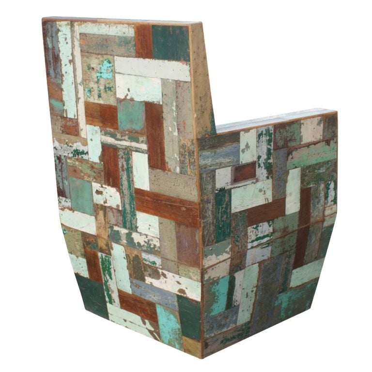 Pair of Patchwork Wooden Lounge Chairs 3