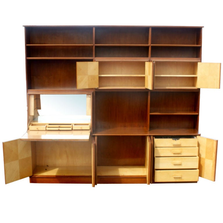 Exotic Burled Multi Purpose Wall Unit In Good Condition For Sale In Pasadena, TX