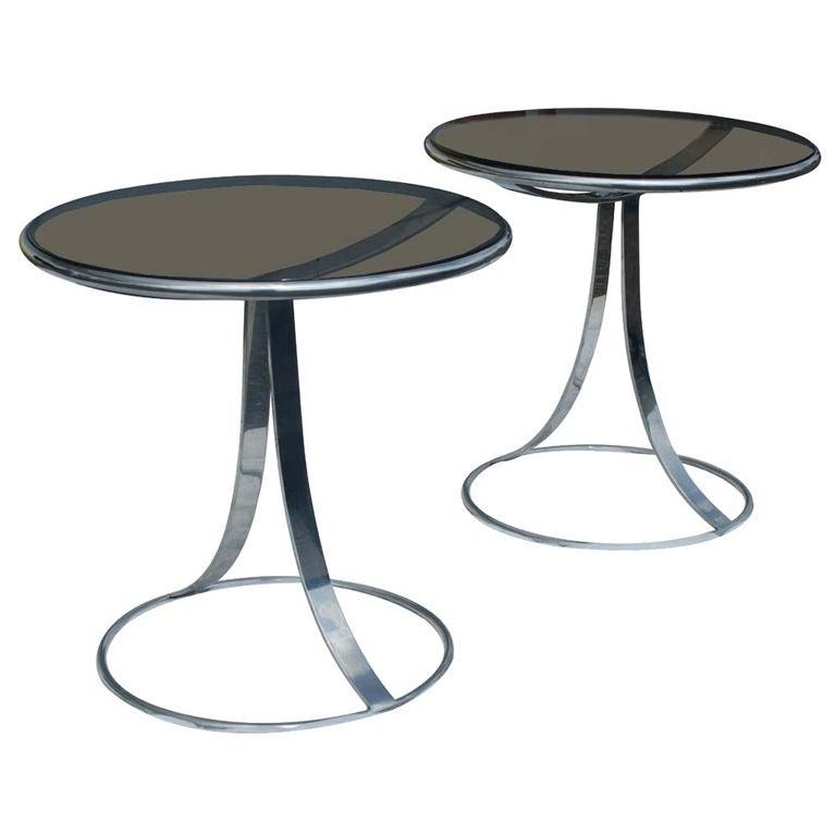 Pair Of Gardner Leaver For Steelcase Stainless Side Tables