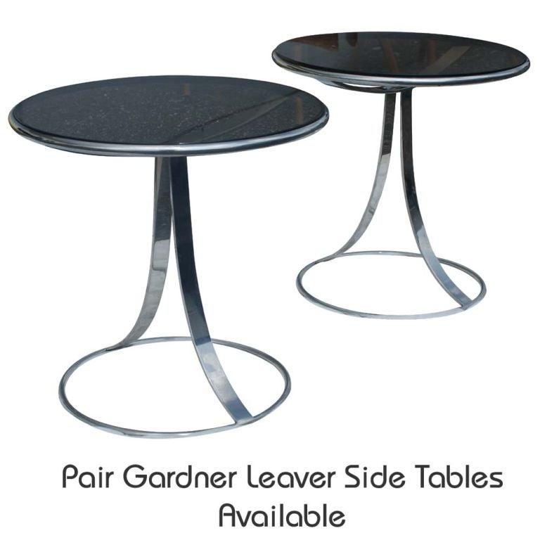 American Gardner Leaver For Steelcase Stainless  And Glass Coffee Table For Sale