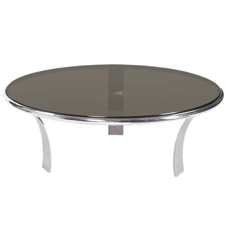 Gardner Leaver For Steelcase Stainless  And Glass Coffee Table For Sale