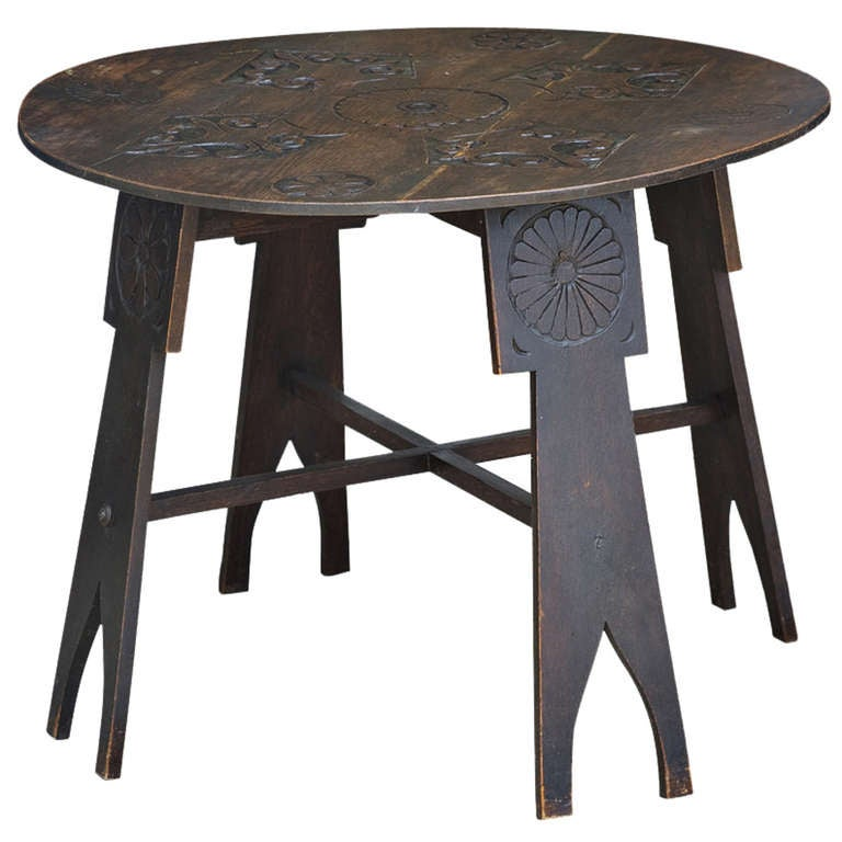 Vintage arts and crafts hand carved wooden side table at 1stdibs