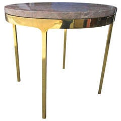 Vintage Zographos Brass and Marble Side Table