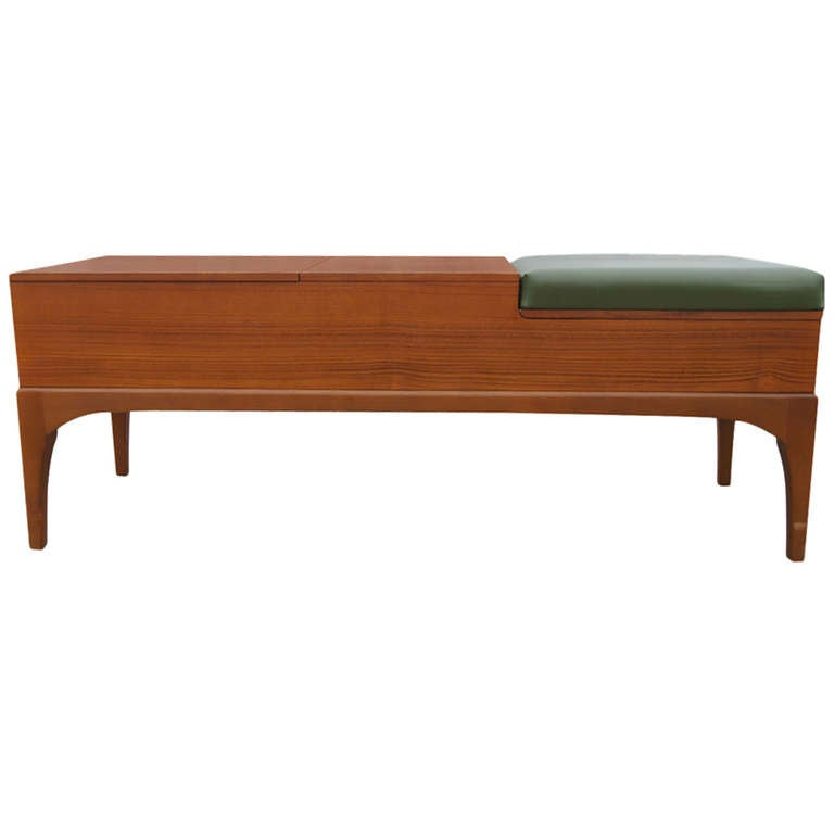 Vintage Teak Compartment Bench by Nathan 1916