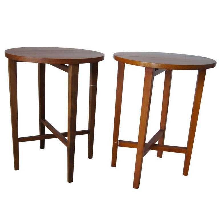 Set of Seven Vintage Side Tables Night Stands with Folding