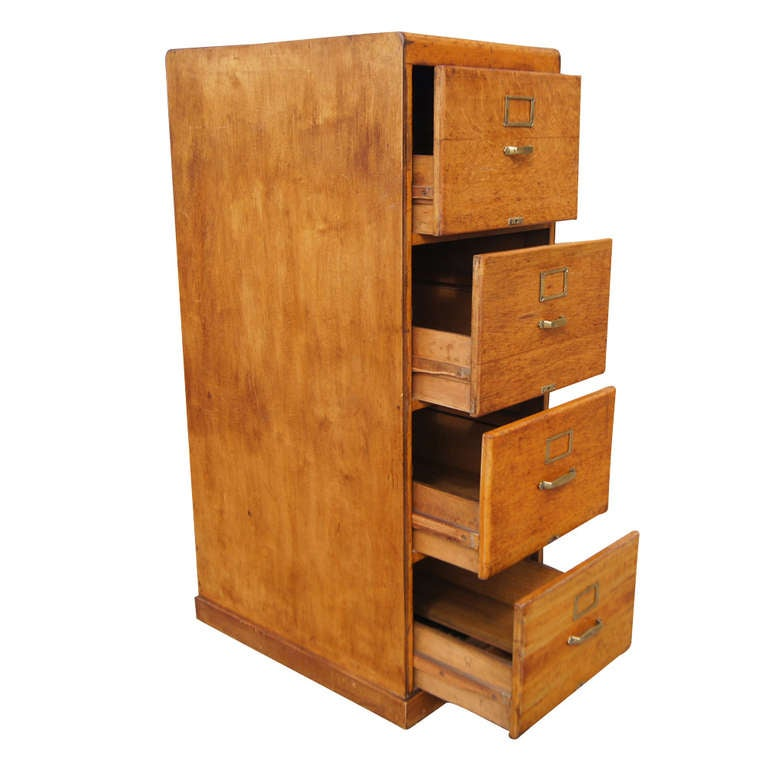 Vintage Pine Wood Four Drawers File Cabinet At 1stdibs