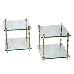 Pair of  Baker Glass and Brass Faux Bamboo Occasional Tables