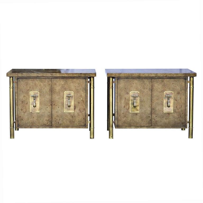 Pair Vintage Mastercraft Mid Century Burled Nightstand Cabinets