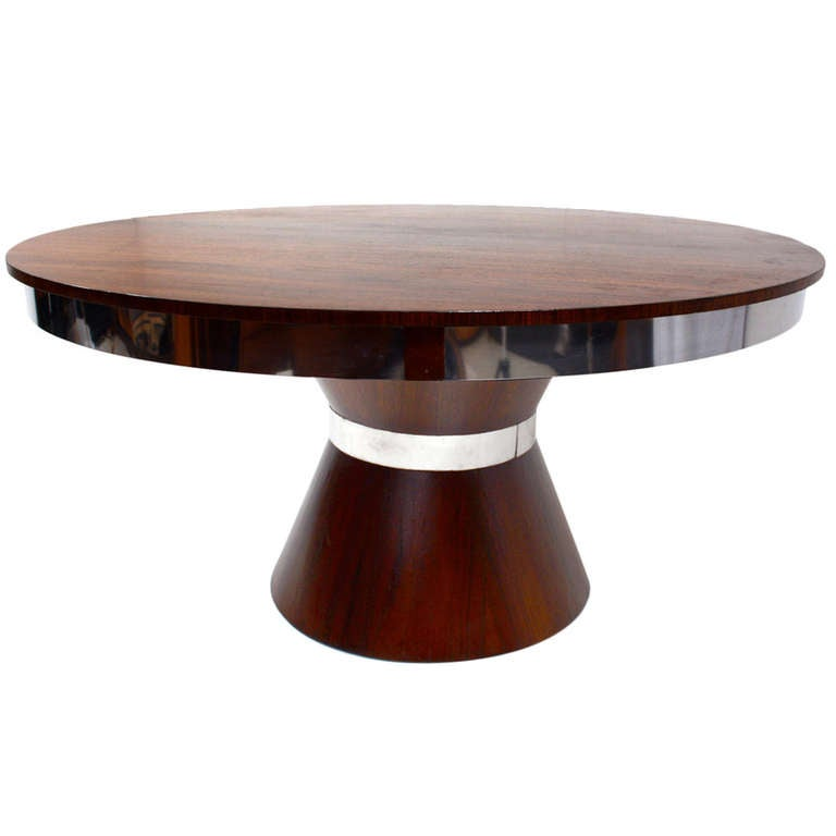 custom mid century modern round dining table at 1stdibs. Black Bedroom Furniture Sets. Home Design Ideas