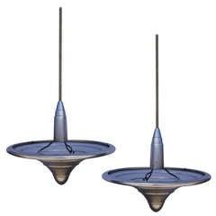 Pair of Vintage Art Metal Cleveland Hanging Lamps
