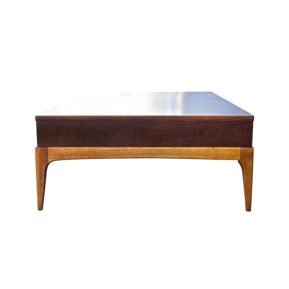 Vintage Lane Walnut Coffee Table With Drawer At 1stdibs