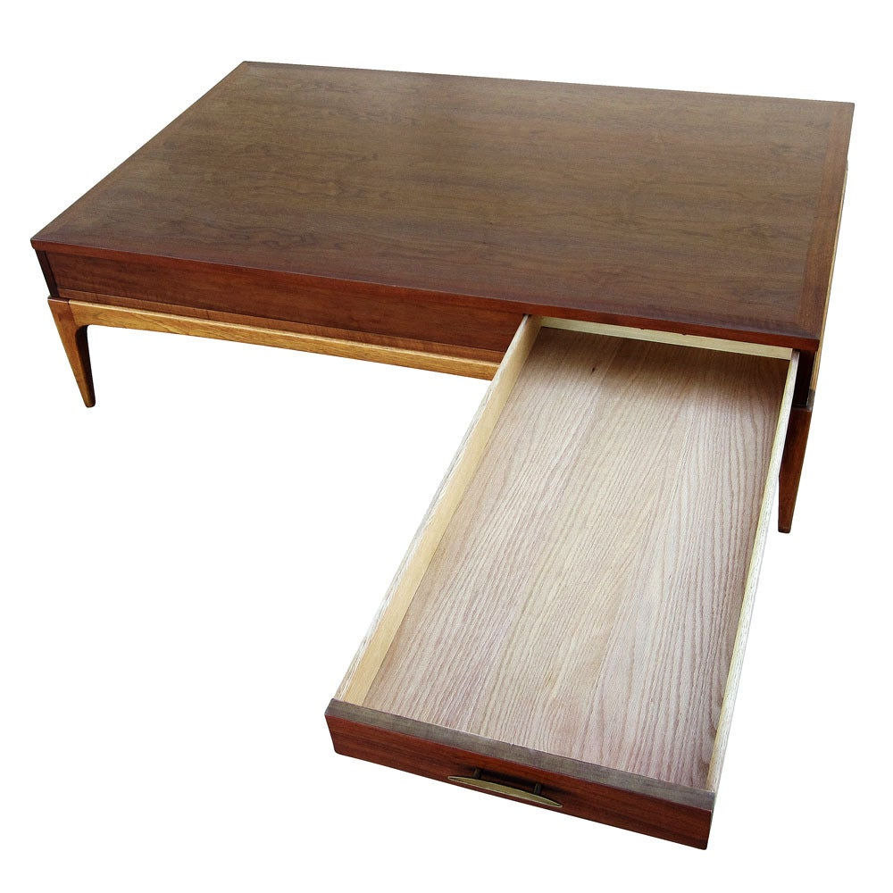Lane Sliding Door Coffee Table: Vintage Lane Walnut Coffee Table With Drawer At 1stdibs
