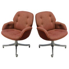 Pair of Steelcase Leather & Fabric Arm Chairs