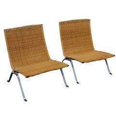 Pair Of Rare Ejvind Kold Christen Poul Kjaerholm PK22 Chairs