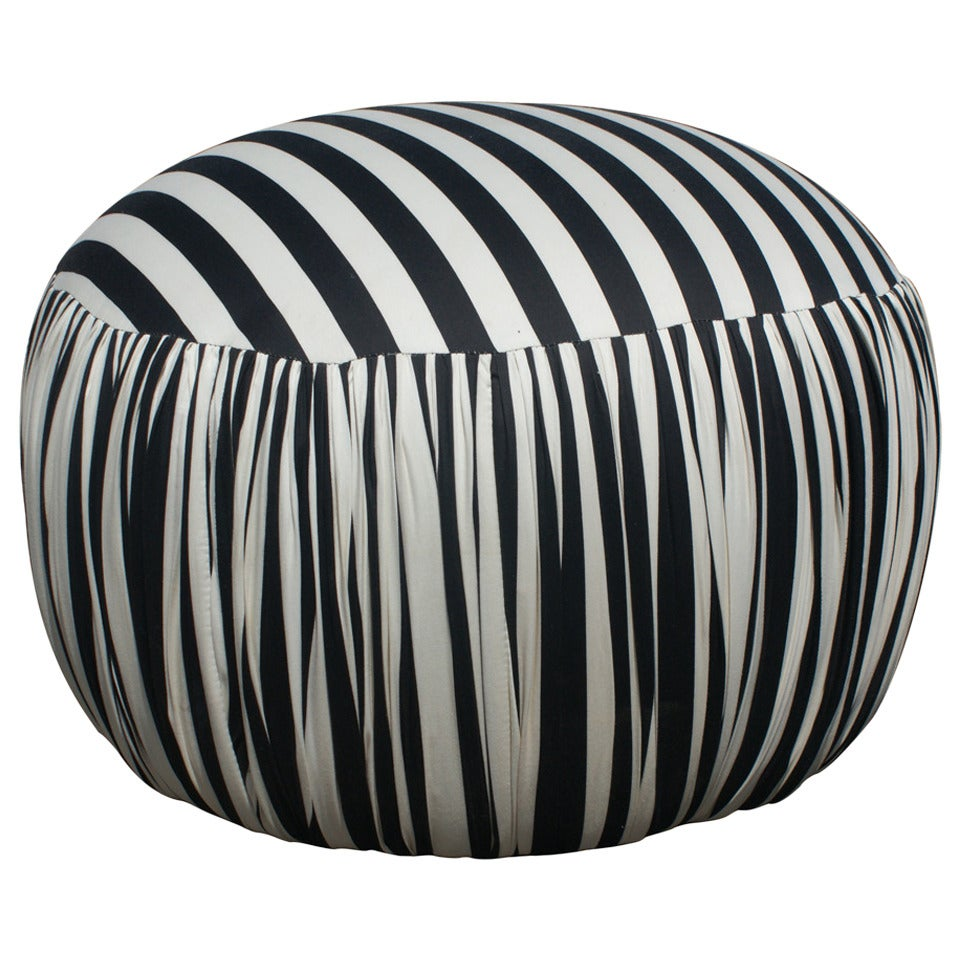 Mid Century Black And White Striped Upholstered Pouf