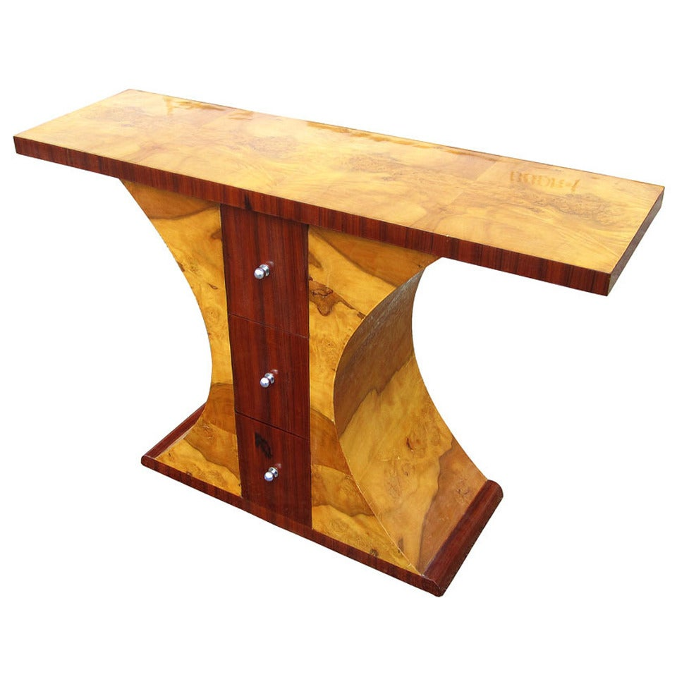 art deco style walnut and burl console table at 1stdibs. Black Bedroom Furniture Sets. Home Design Ideas