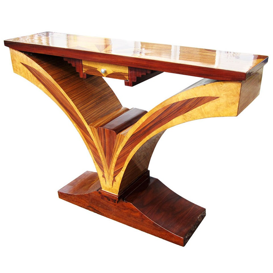 art deco style sunburst console table at 1stdibs. Black Bedroom Furniture Sets. Home Design Ideas