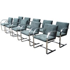 1 Stainless Steel Flatbar Mies van der Rohe Brno Chair for Knoll