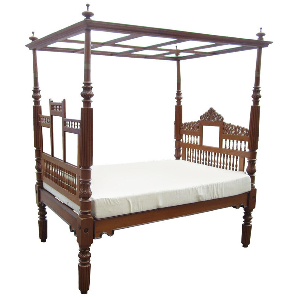 vintage indian bed with canopy and full sized mattress at