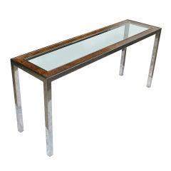 Milo Baughman Burled Wood And Chrome Console Table