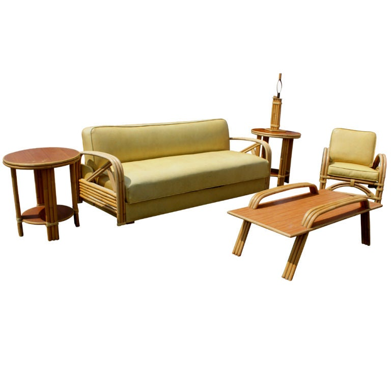 American Paul Frankl Style Tropitan Bamboo Sofa And Daybed