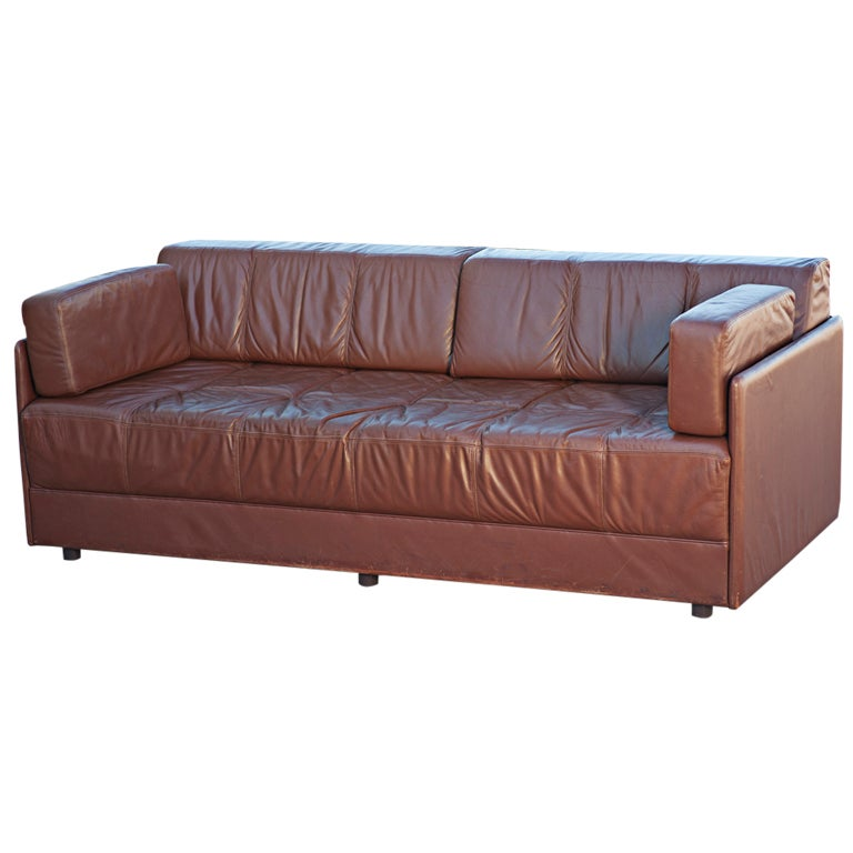 Mid Century Brayton Brown Leather Sofa Daybed