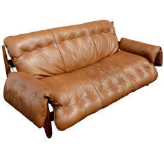 Sergio Rodriques For Stendig Rosewood Leather Mole Sofa