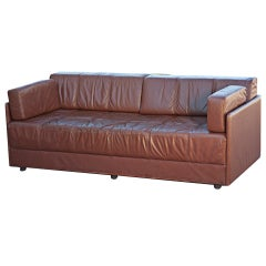 Brayton Brown Leather Sofa Daybed 60% OFF original price of $1900