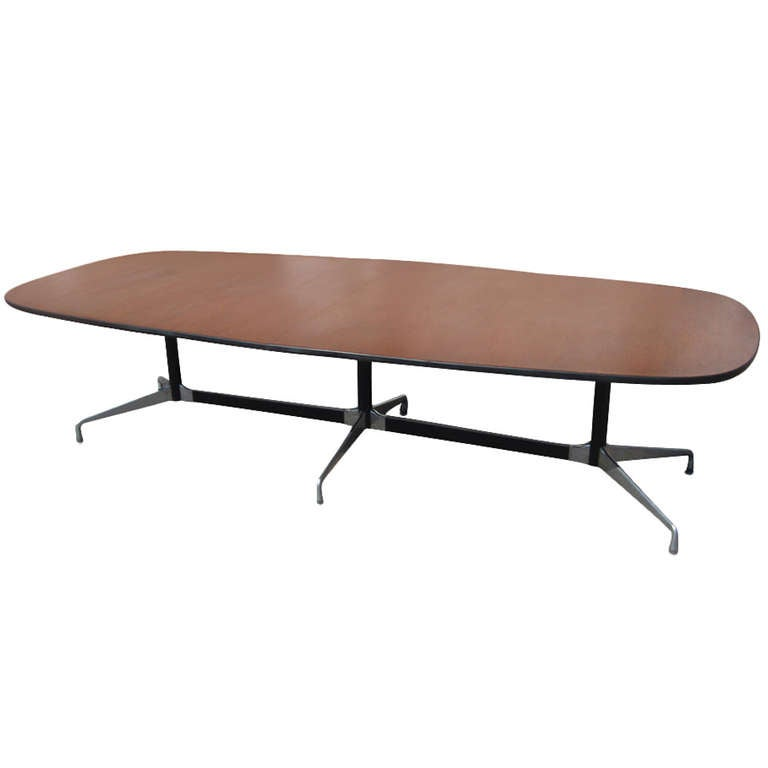 10 ft herman miller eames walnut racetrack conference table at 1stdibs. Black Bedroom Furniture Sets. Home Design Ideas