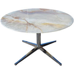 "45"" Vintage Florence Knoll Style Onyx Round Dining Table"