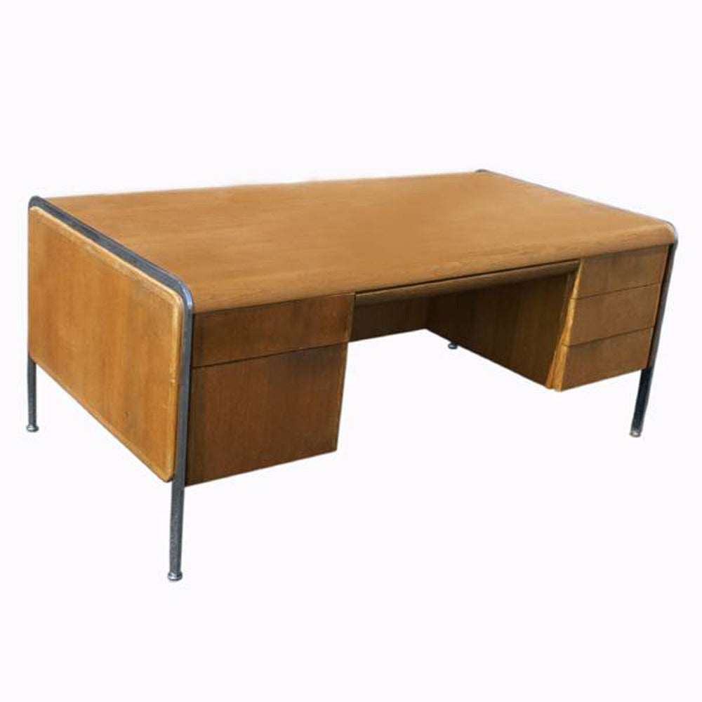 Vintage mid century modern desk with chrome trim and legs for Modern office desk for sale