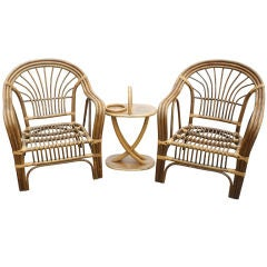 Pair Of Paul Frankl Style Bamboo Tropitan Lounge Chairs