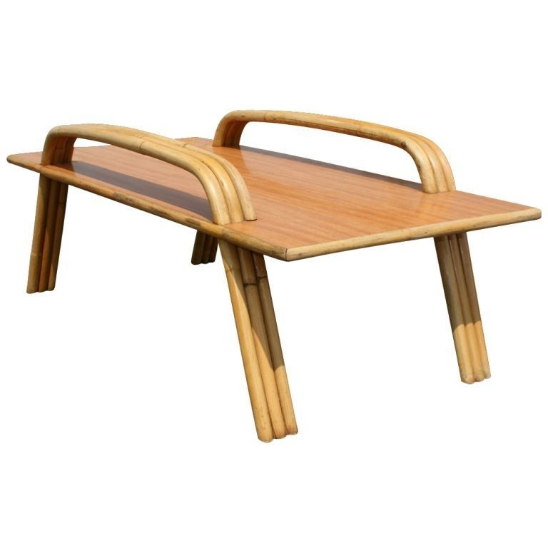 Paul Frankl Style Tropitan Bamboo Coffee Table For Sale At
