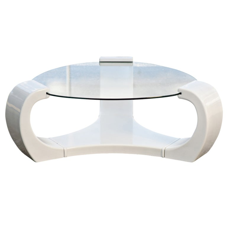 White Lacquered Triskelion Scroll Coffee Table At 1stdibs