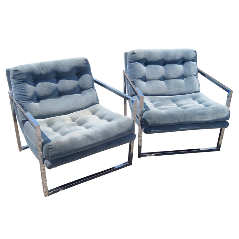 Wonderful Pair Milo Baughman Style Lounge Chairs For Sale