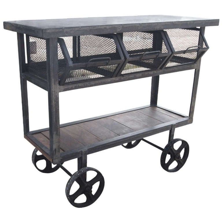 Industrial Rolling Kitchen Cart: Industrial Metal And Wood Rolling Cart Island With Wire