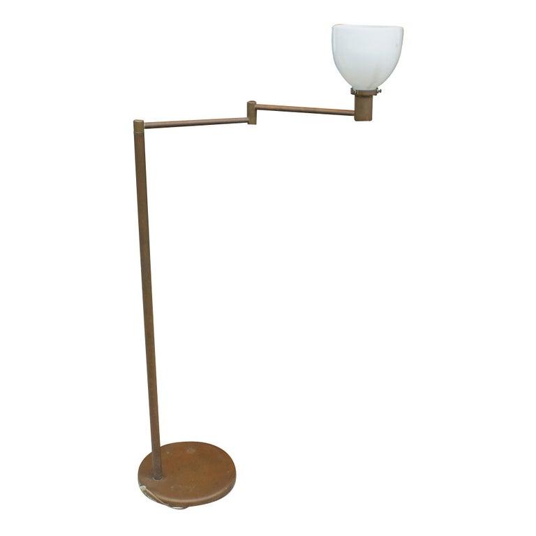 Vintage Walter Von Nessen Studio Bronze Swing Arm Floor Lamp 1950