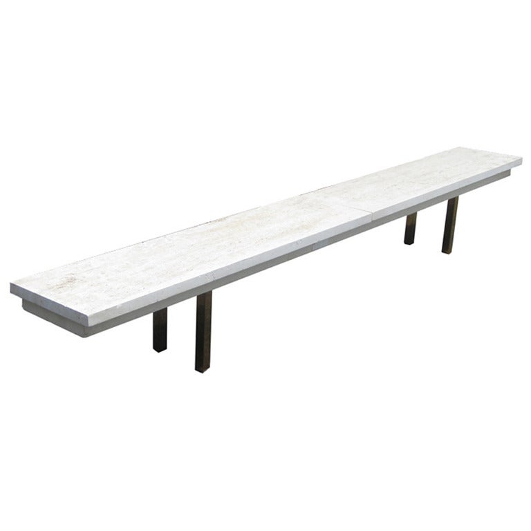 Vintage Mid-Century White Travertine Bench with Solid Brass Legs