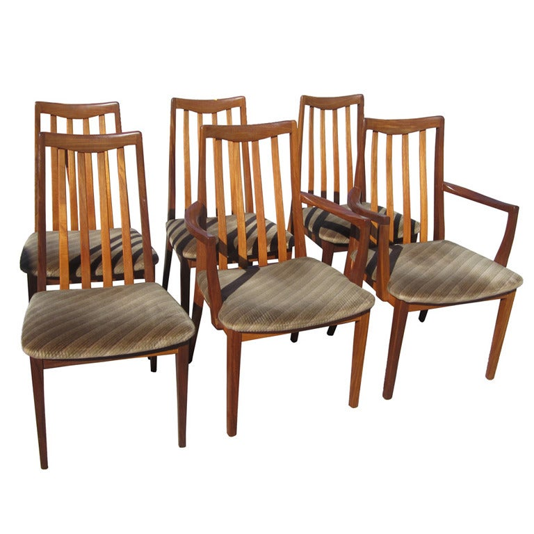set of six vintage midcentury g plan fresco high back dining chairs 1