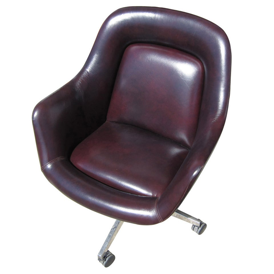 Vintage oversized leather executive chair by max pearson for knoll at