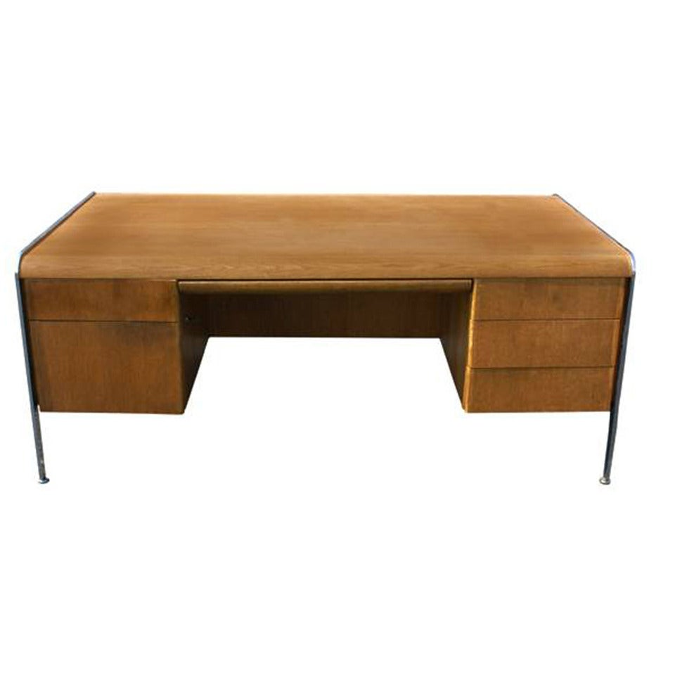 Vintage Mid Century Modern Desk With Chrome Trim And Legs