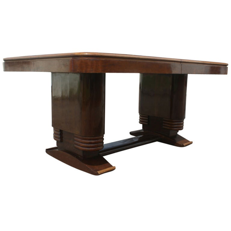 French Art Deco Wooden Dining Table 2