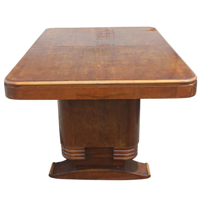French art deco wooden dining table at 1stdibs - Art deco dining room table ...