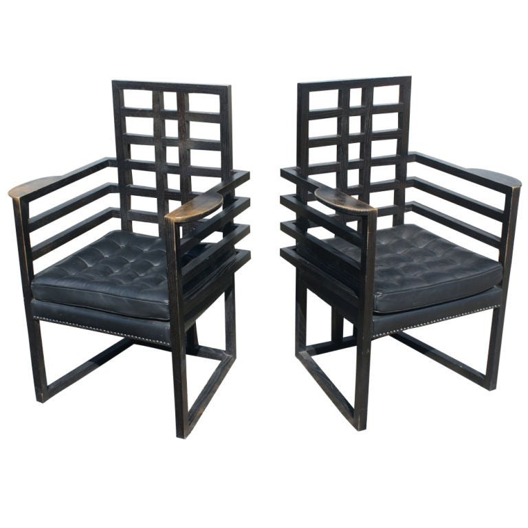 Attirant Chairs Designed By Josef Hoffmann And Made By Wittmann Of Austria.  Originally Designed In 1908