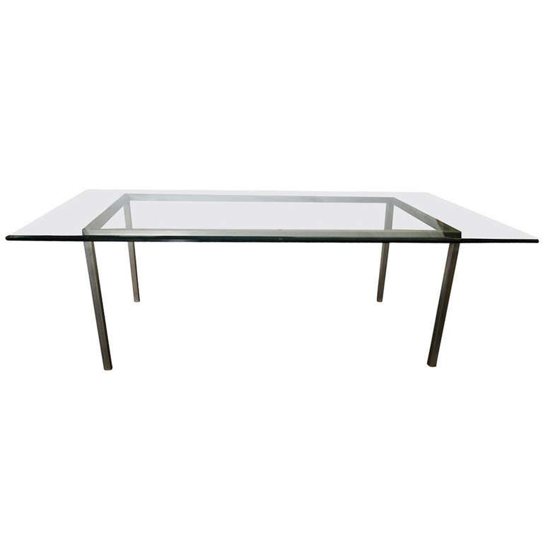8 ft industrial age vintage metal glass dining table at for Dining room 8 feet wide