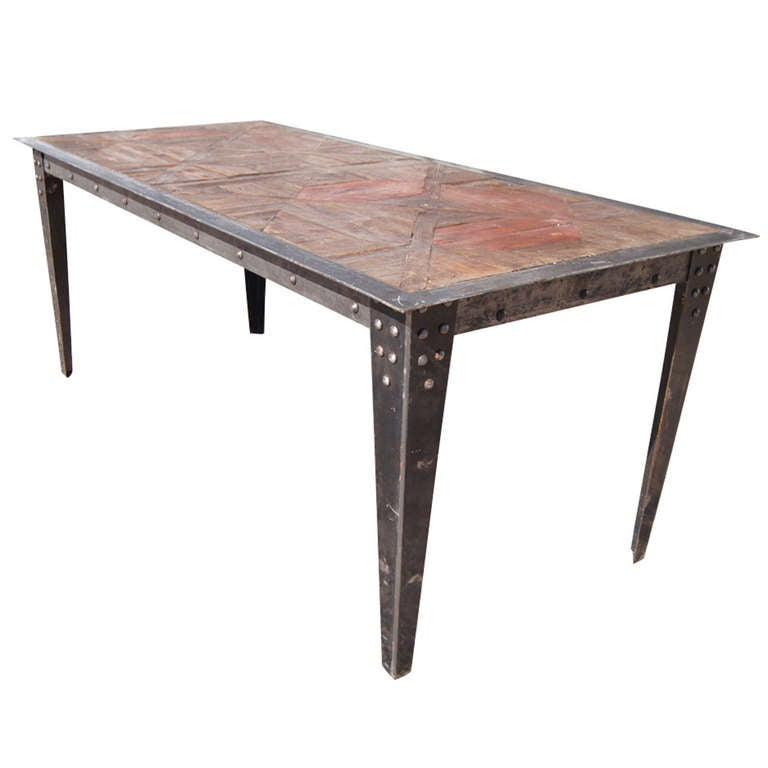 6 5 ft vintage heavy industrial steel wood table at 1stdibs for 5ft dining room table